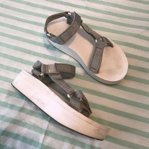 Teva Classic Platform Sandals with White and Gray